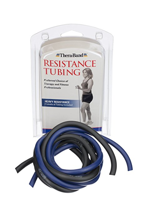 Thera-Band Heavy Exercise Tubing (Blue/Black), Pack of 2