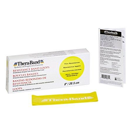 Thera-Band Thin Loops Resistance Band, Yellow, 8-Inch