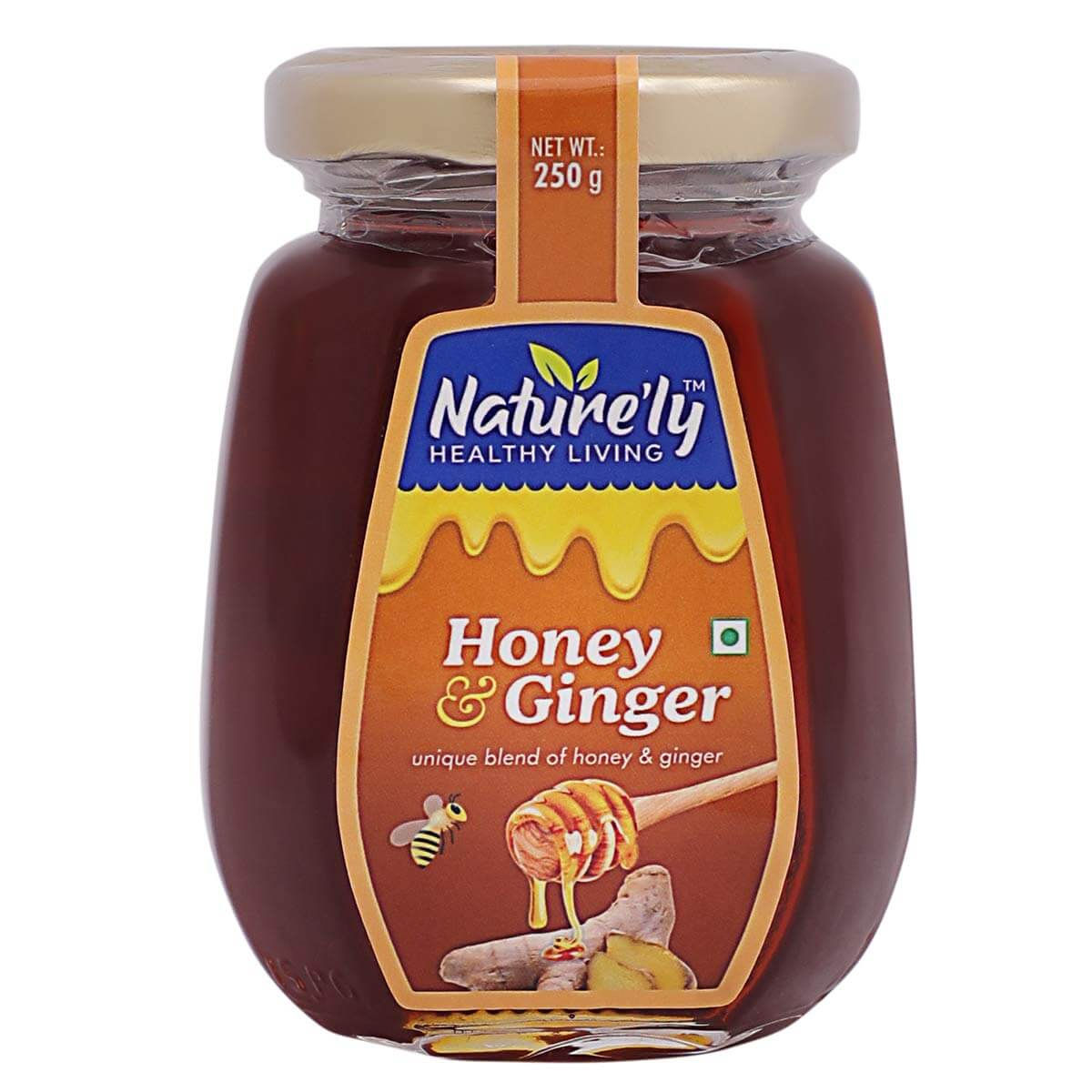 NATURE'LY RAW HONEY INFUSED WITH GINGER| PURE NATURAL HONEY| HEALTH BENEFITS| IMMUNITY SUPPORT|GLUTEN FREE| PREMIUM GLASS BOTTLE - 250GRAMS