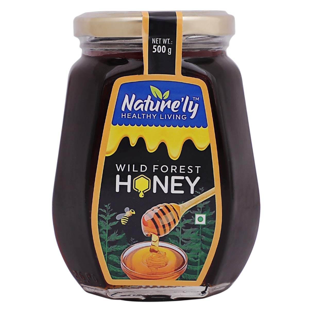 NATURE'LY Pure Natural Raw Wild Forest Honey Premium Glass Bottle, 500 Grams