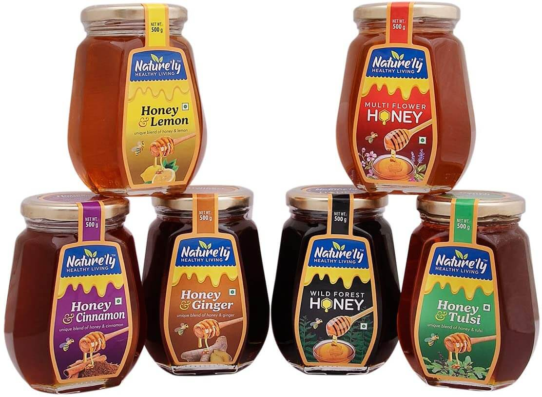 NATURE'LY Raw Wild Forest, Multi Flower, Tulsi, Lemon, Cinnamon, Ginger Honey| Pure Natural Honey| Health Benefits| Immunity Support| Gluten-Free| Premium Glass Bottle Pack of 6-500 Grams Each